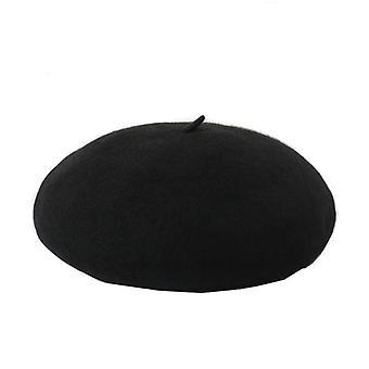 Klasický francouzský baret v vlně - černá