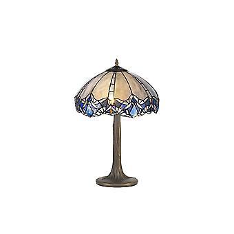 Luminosa Beleuchtung - 2 Licht Baum wie Tischleuchte E27 mit 40cm Tiffany Schatten, blau, klar Kristall, alteralter antiker Messing