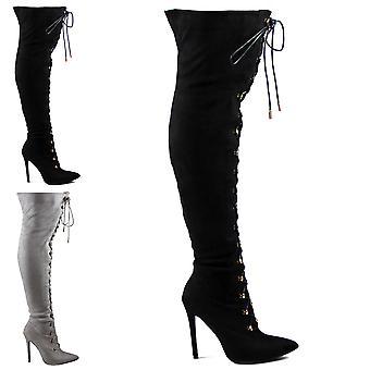 Womens Stretch lange Fashion Lace Up dij hoge stiletto's jurk hoge hak UK 3-10