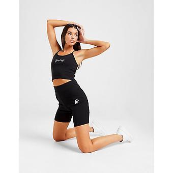 New Gym King Women's Ribbed Logo Cycle Shorts Black