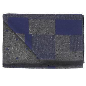 Ties Planet Tresanti Grey & Navy Rectangle & Polka Dot Motifed Double Face Scarf