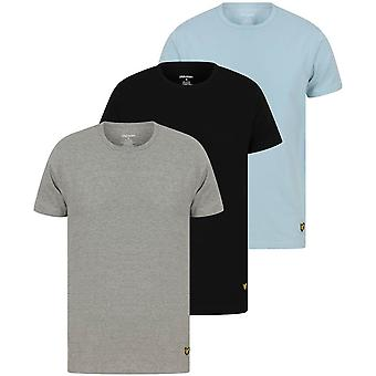 Lyle and Scott Maxwell 3 Pack Lounge T-Shirts - Black/Light Grey Marl/Angel Falls Blue