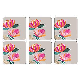 Sara Miller Peony Grey Coasters, Set of 6