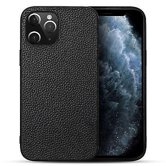Voor iPhone 12 Pro Max Case Echt leder duurzaam slim beschermhoes Zwart