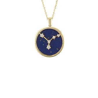 Zodiac Blue Lapis Gemstone Star Sign Pendant Necklace Gold Cancer