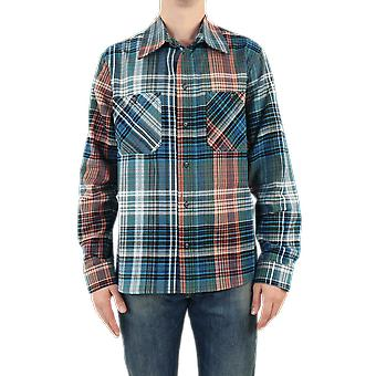 OFF WHITE Stencil Flannel Check Shirt Blue OMGA133E20FAB0014510 Top