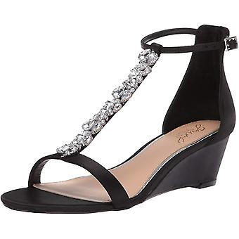 Jewel Badgley Mischka Ženy's DARRELL Sandále, čierny satén, 7 M US