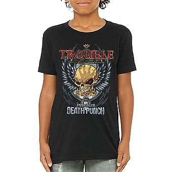 Five Finger Death Punch Kids T Shirt Trouble new Official Black Ages 5-14 yrs