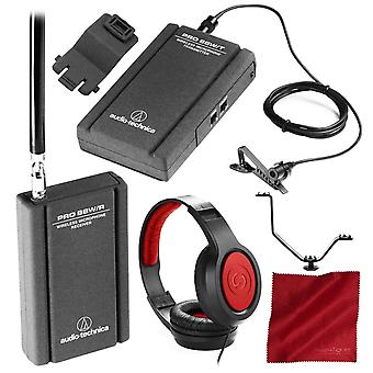 Audio-technica pro 88w - r35 camera mountable vhf lavalier system with samson headphones and accessory bundle