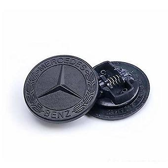 Black Mercedes Benz Bonnet Badge Emblem For B C E S CLK AMG Class 57mm