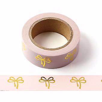 شريط وردي Washi مع الأقواس منقوش الذهب 15mm × 10m