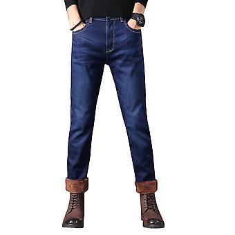 Allthemen Homme's Winter Casual Denim Jeans Thermal Peluche Épaississant Pantalon