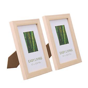 Imagem de madeira maciça e plexiglass enquadra cor de carvalho branco 5Inchx7Inch Pack de 2
