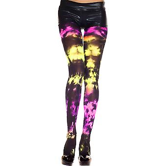 Music Legs Tie Dye Spandex Opaque Pantyhose