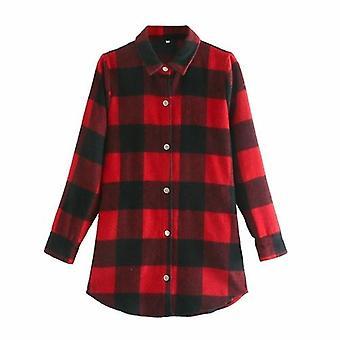Single Breasted Loose Plaid Jacket Coat