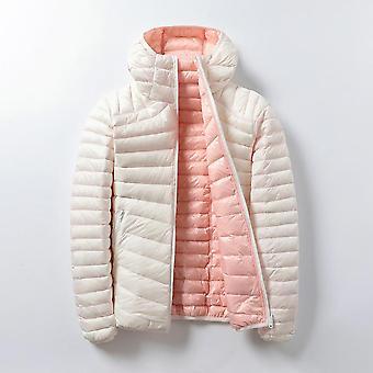 Women Ultra Light Hooded Basic Jacket Leather Double Sided Reversible Warm Coat