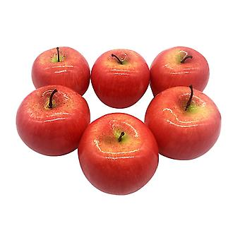 6pcs Lifelike Artificial Fruits Apple Model Decoration for Bedroom Office(Red)