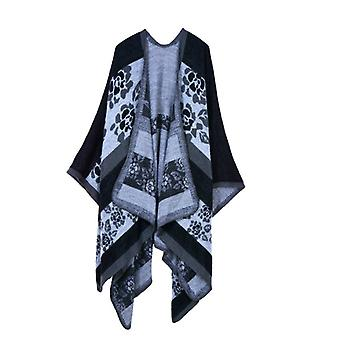 Women's Autumn And Winter Plus Size Flowers Black Warm Scarf Blanket Shawl