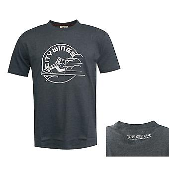 Pony City Wings Short Sleeved Mens Crew Tee T-Shirt Top Blue Cotton 684MA X43A