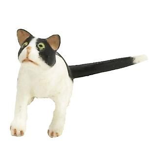 Dolls House Black & White Cat Looking Up 1:24 Scale Half Inch Pet