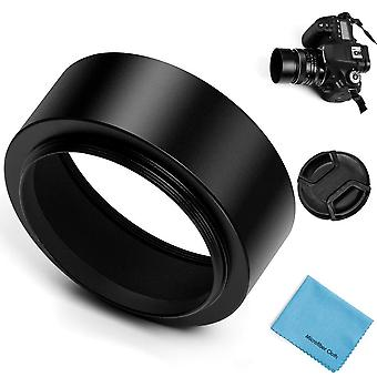 Fotover 62mm metal standard screw-in standard lens hood with centre pinch lens cap for canon nikon s