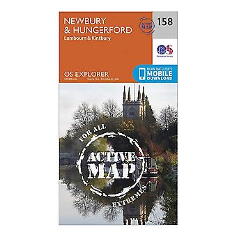 Ordnance Survey Explorer Active 158 Newbury & Hungerford Map Orange