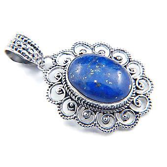 Amuleto de caneta de corrente prata 925 Sterling Silver Lapis Lazuli Blue Stone (No: MAH 83-06)