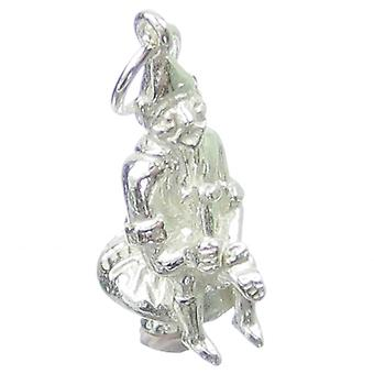 Leprechaun Sitting On A Toadstool Sterling Silver Charm .925 X 1 Charms - 356