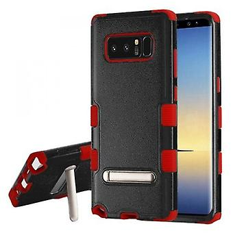 MYBAT TUFF HYBRID PROTECTOR CASE FOR GALAXY NOTE 8 W/MAGNETIC METAL STAND - NATURAL BLACK/RED