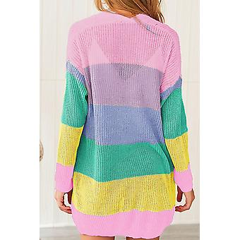 Color Block Drape Oversized Knitted Cardigan