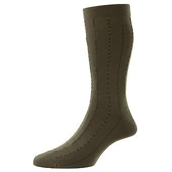 Pantherella Pelham Cotton Fil D'Ecosse Pinstripe Socks - Light Olive