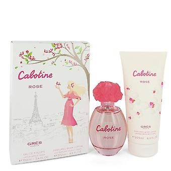 Cabotine Rose Gift Set By Parfums Gres 3.4 oz Eau De Toilette Spray + 6.7 oz Body Lotion