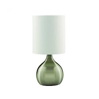 Lámpara De Mesa Lámparas Táctiles 29 Cm, En Latón Antiguo, Pantalla Blanca