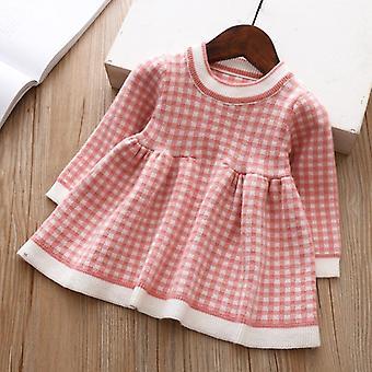 2021 Winter Autumn Christmas Baby Dress Long Sleeve Plaid Sweater Dress