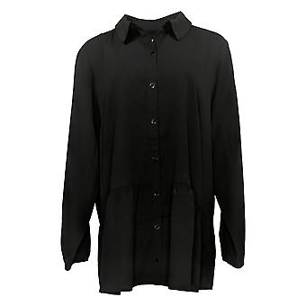 LOGO By Lori Goldstein Women's Top Woven Button Front Blouse Black A365840