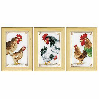 Vervaco telt korssting kit: kyllinger: sett med 3