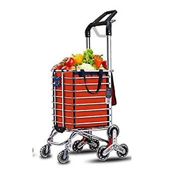 New Trolley Cart On Wheels Woman Shopping Cart Basket Stairs Trailer