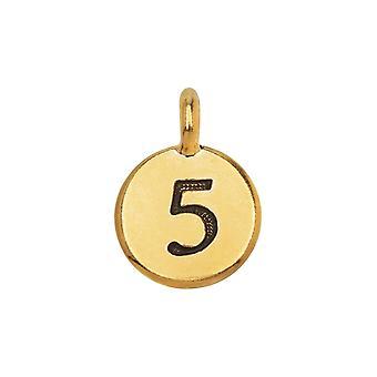 Final Sale - TierraCast Pewter Number Charm, Round '5' 16.5x11.5mm, 1 Stück, vergoldet