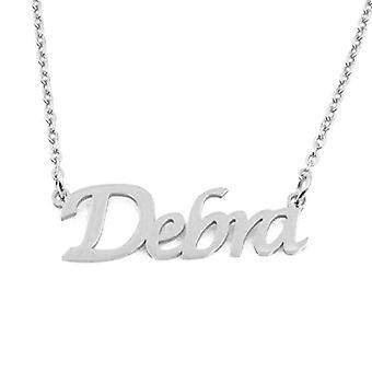 """L Debra - Justerbar halskæde med brugerdefineret navn, sølvfarve, 16""""- 19"""