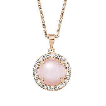 Liebe - Damen Halskette mit 925 Silber Anhänger vergoldet, mit rosa Zirkonen