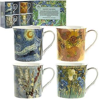 Set of 4 Assorted Mugs Van Gogh Fine China Multicolour
