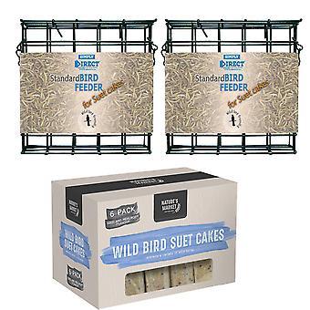 2 x Yksinkertaisesti suorat tavalliset suet-kakkulohkon syöttölaittimet, joissa on 6 suet-kakun villilinturehupakkaus