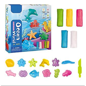 Oceaan 16,5 * 4 * 16,5 cm plasticine diy handgemaakte modder kinderen educatief speelgoed kleur modder met een verscheidenheid aan vorm gereedschappen az9332