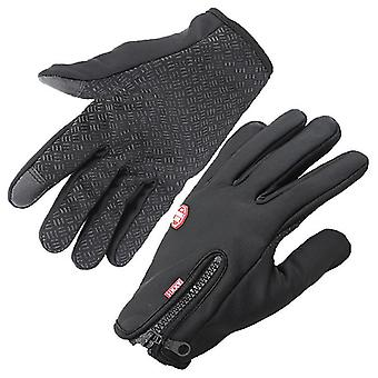 Vonkajšia zimná teplejšia dotyková obrazovka Studené počasie Vodotesné vetruodolné fleece full finger rukavice (čierna)