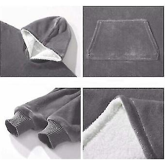 Oversized Fleece Plyšová šerpa deka stylizovaný pullover s mikinou (šedá)