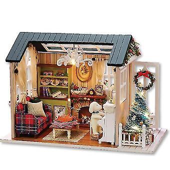Handwerk Holz Diy Hütte, LED montiert Modell Haus Spielzeug
