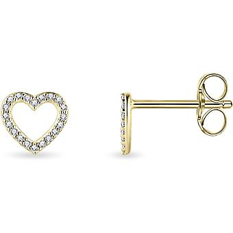 Bijoux Gisser - Boucles d'oreilles - Boucles d'oreilles Coeur Ouvert en Zircone - 6.5mm x 7mm - Or Jaune 14 Carats