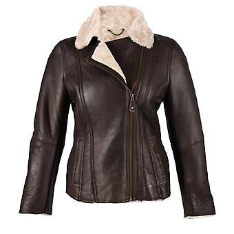 Ladies Luxury Leather and Sheepskin Jacket with Aviator Finish