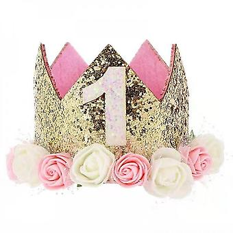 Baby prinses tiara kroon, baby verjaardag hoed (set1)