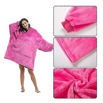 Oversized Hoodie Blanket Styled Pullover(Rose)